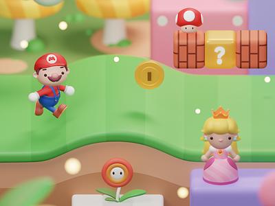 Mario 3d Illustration Fanart concept design environtment character mario super mario illustration blender 3d blender 3d