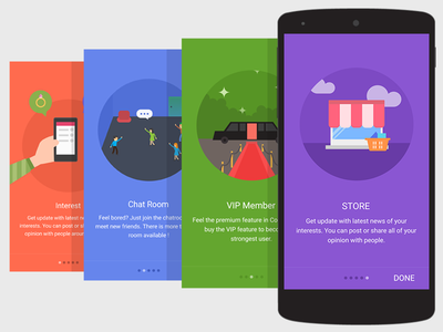 Intro illustration material flat social android illustration intro chat room vip store interest design