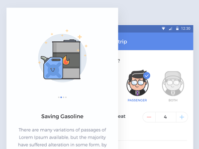 Work in Progress gasoline avatar illustration pooling order intro taxi car material android app mobile