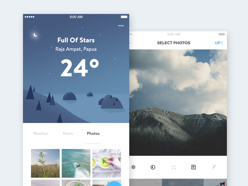 Weather App Concept part 2 interaction photos upload social feed news weather illustration mobile ios app