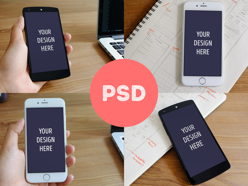 Photorealistic iPhone 6 & Nexus 5 mockups mockup free freebie psd mobile app ios android nexus nexus5 iphone