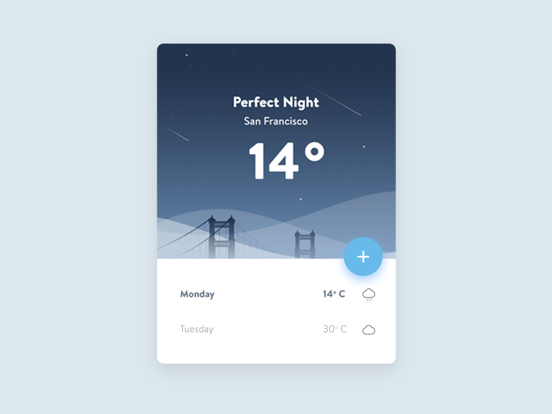 Weather UI Concept bridge night sky sanfrancisco android material app weather