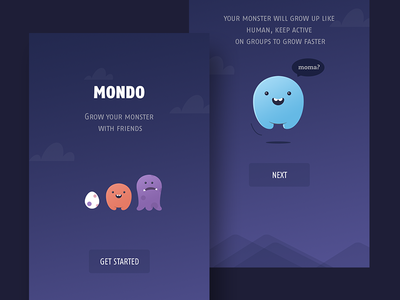 Mondo Social Network Concept onboarding registration group chat clean cute app ios illustration monster