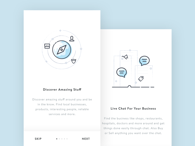 Onboarding Screen  business intro onboarding discover buy sell commerce chat illustration app ios