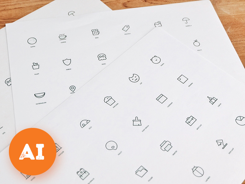 Random Stuff Iconset vol 3 illustrator line random iconset ai psd freebie free icons
