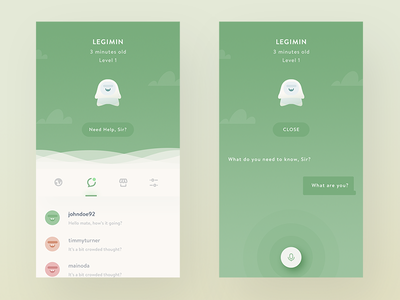 Mondo Personal Assistant Feature chat shadow icons network social messaging cute monster illustration mobile app ios