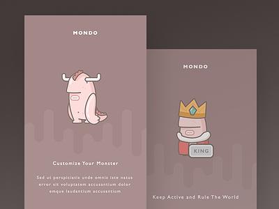 Mondo Onboarding avatar room social chat app ios illustration monster