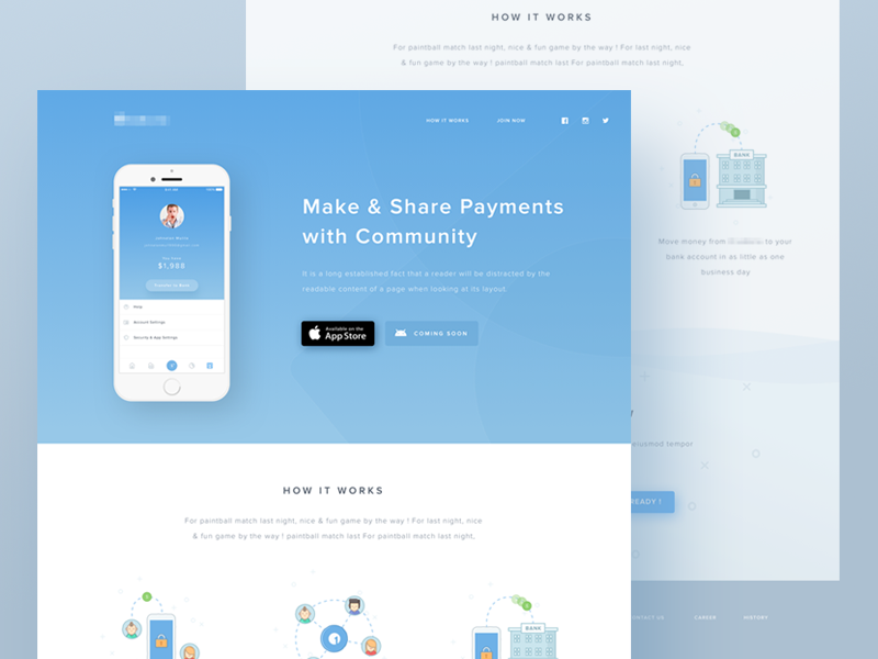 Mobile payment app landing page by ghani pradita - Web application home page design ...