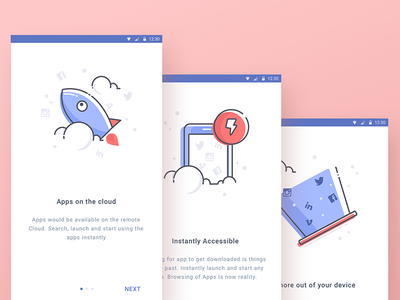 Cloud Apps Backup Onboarding mobile material android notifications illustration update onboarding