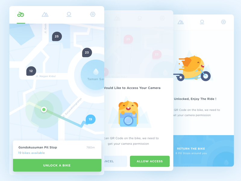 App Concept for Rent a Free Bike dashboard city bike hamster illustration location maps nearby search jogja mobile ios