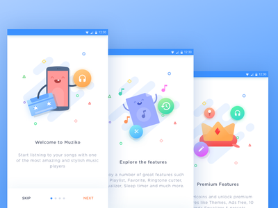 Muziko Android App - Onboarding crown phone characters monster cute illustration welcome onboarding music android material
