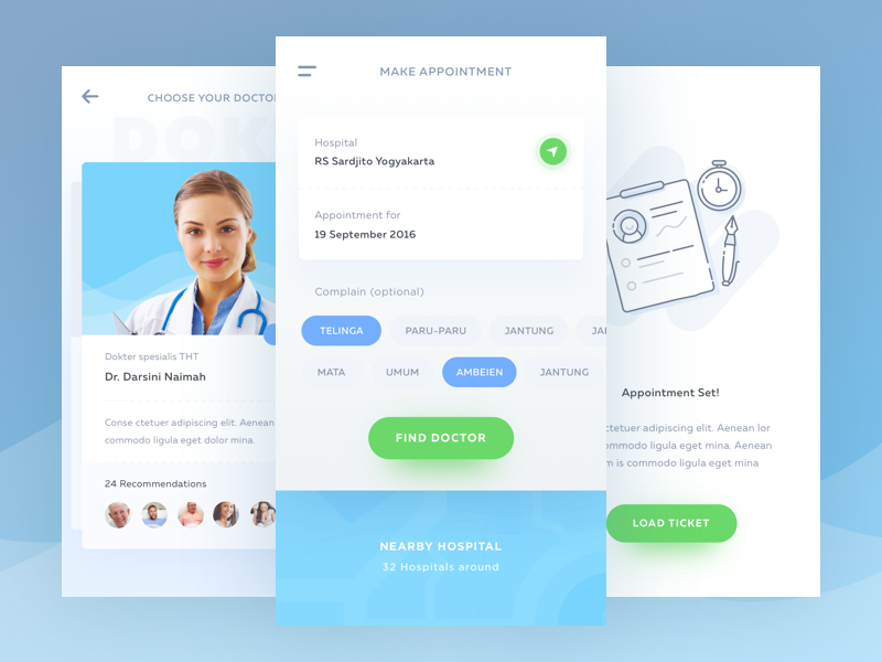 Medical App Exploration icons illustration maps nearby filter cards schedule task appointment ios doctor