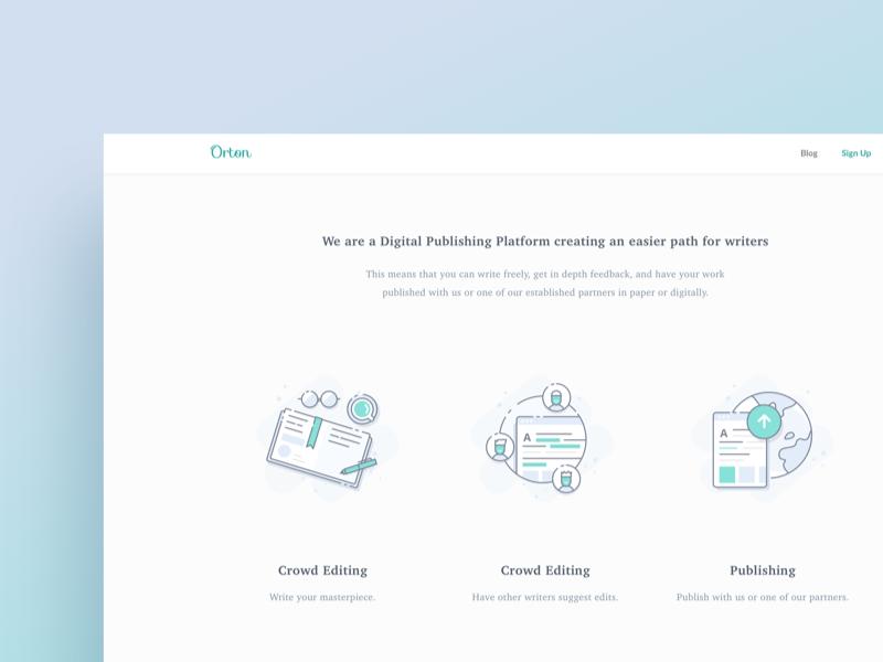 Orton.io Illustration website landing page clean icons line publishing writer illustration