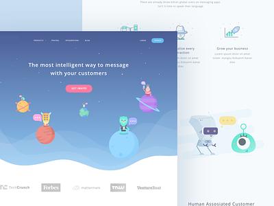 Customer Service Startup Landing Page sky galaxy moon planet monster cute robot communication crm illustration alien website