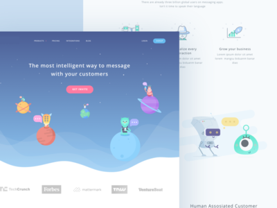 Customer Service Startup Landing Page sky galaxy moon planet monster cute robot communication crm illustration alien website