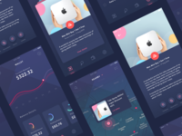 Coupon & Savings iOS App settings promo graph chart card icons shop modern dark wallet