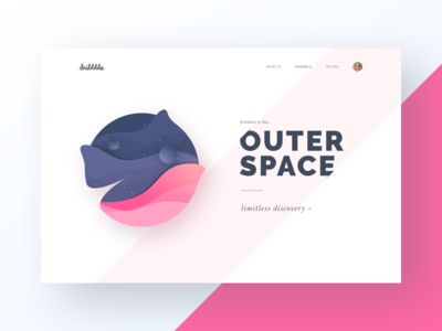 Dribbble is Outer Space planets illustration alien space sticker landing page web