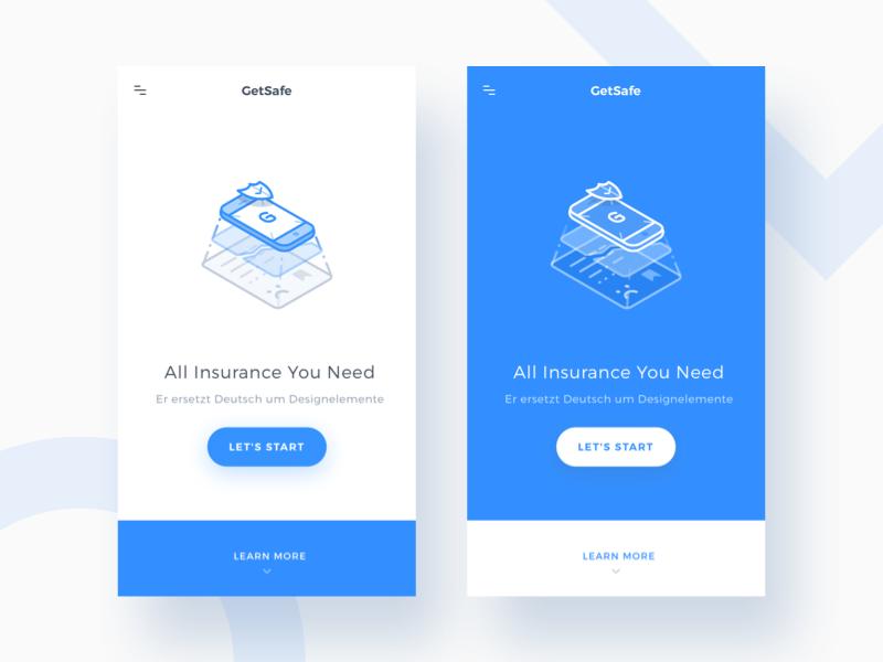 Getsafe Mobile Landing Page modern health line art line illustration isometric insurance