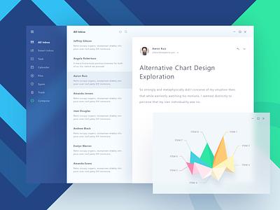 Fluent Design Email App metro web dashboard illustration inbox graph chart blur material 3d fluent windows