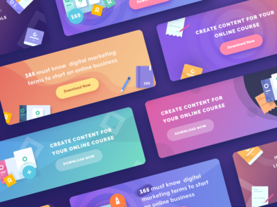 Teachable Banner Images landing page futuristic cards gradient flat download course school icons sketch illustration