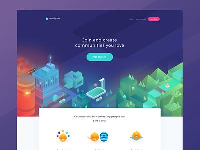 Matchpool Landing Page communities pool city isometric icons illustrations website web
