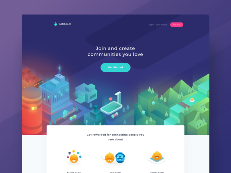 Matchpool Landing Page communities pool city isometric icons illustrations website web