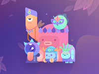 Paperpillar's Squad characters gradient cute monster illustration illustrations sticker