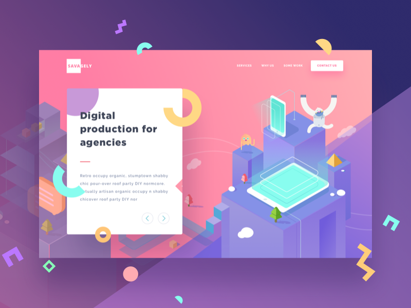 Savagely Landing Page Exploration modern isometric gradient colorful icons animal monster illustrations web landing page