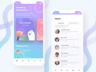 Storytelling Community App inbox cards dashboard ui gradient modern ios 11 icons illustrations book stories ios