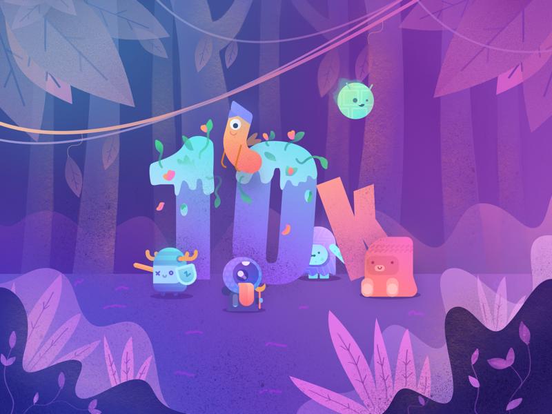 10k! gradient forest jungle woods character monster team studio 10k illustrations illustration