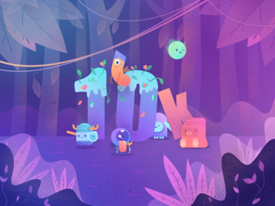 10k! gradient forest jungle woods character monster team studio 10k illustrations illustration