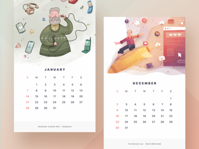 2018 Calendar by Paperpillar print gradient watercolor vector painting cards illustration calendar