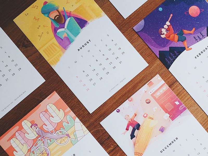 More Illustrations for the 2018 Calendar cards gift prints craft graphic vector painting illustration calendar