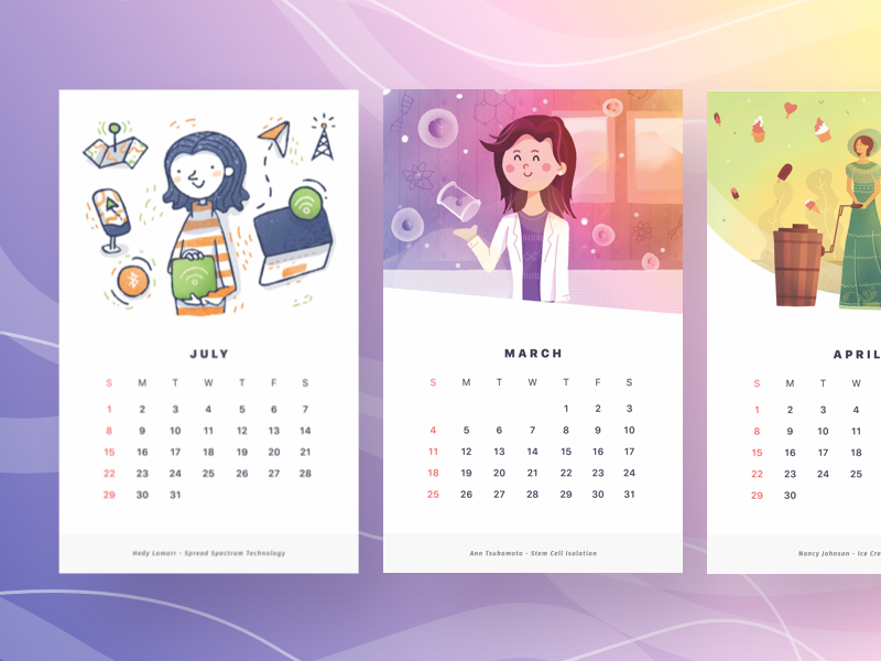 Women Inventor Illustrations people women style painting gradient lineart line illustration cards calendar