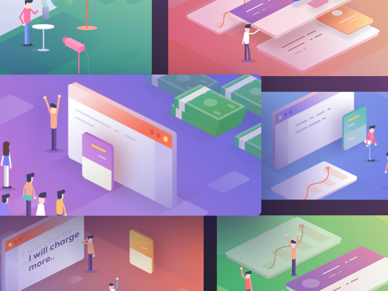 Teachable Email Illustrations stats course school money dashboard email app web isometric illustration