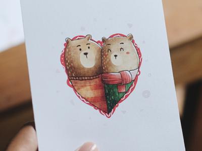 Bear Love Greeting Card dear love winter painting cute animal bear greeting card illustration