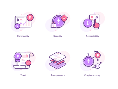 Cryptocurrency Icons wallet money bigdata data cryptocurrency bitcoin illustrations illustration icons
