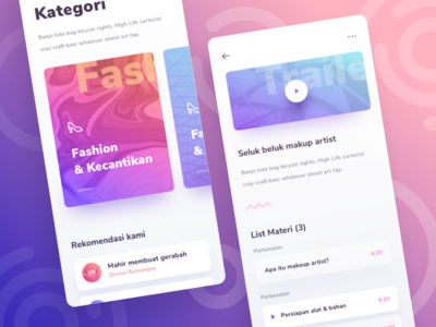 Online Course Mobile App UI details listing dashboard homepage ios 11 illustrations icons material android ios gradient explorations