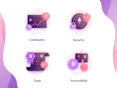 Cryptocurrency Icons dashboard coin contract bitcoin pattern wave fill gradient flat illustrations icons
