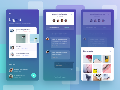 Messaging App UI Exploration cards ios 11 gradient mail inbox conversation group email chat messages