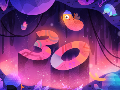 30k followers! cliff nature gradient cute character alien monster characters monsters happy celebration illustration
