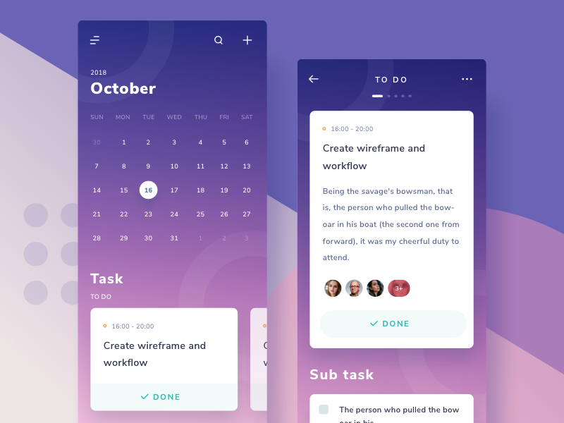 Calendar & Project management App details event collaboration team cards to do task calendar gradient ios 11 ios