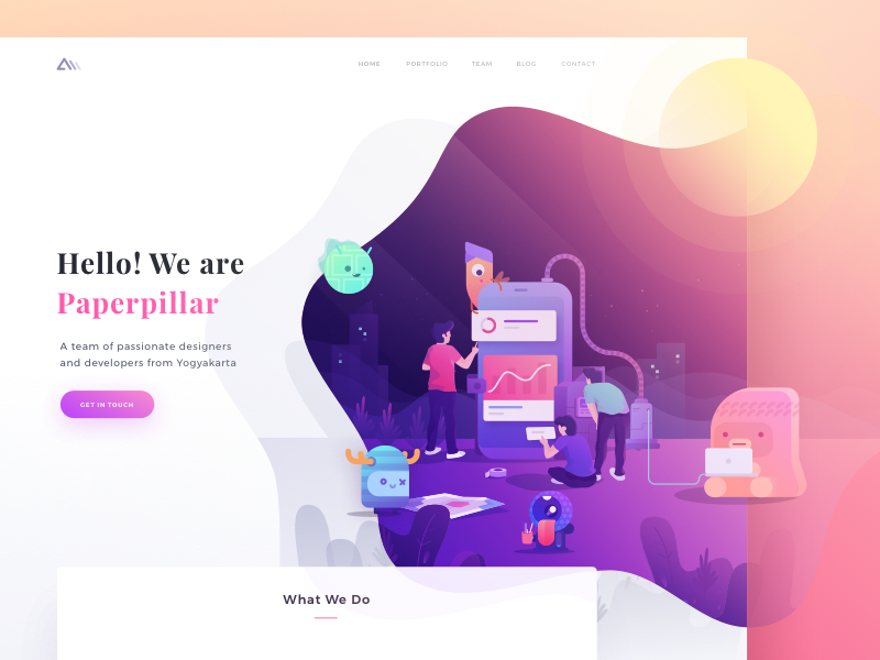 Paperpillar Landing Page Exploration character monster people hero gradient icons illustration web website landing page