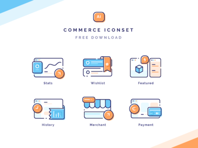 Commerce Iconset Freebie stats graph lieart outline line illustrations shop history payment marketplace icons icon
