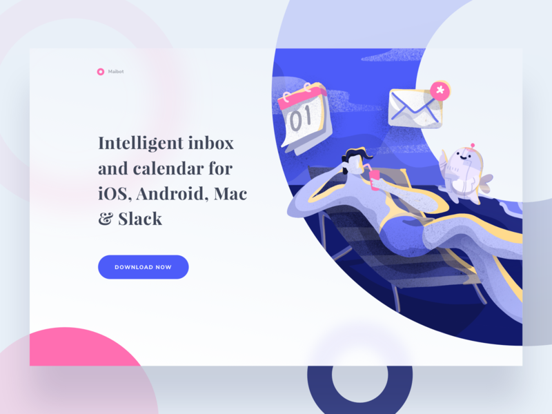 Maibot email app landing page people relax productivity icons illustration character ai robot calendar desktop web mail