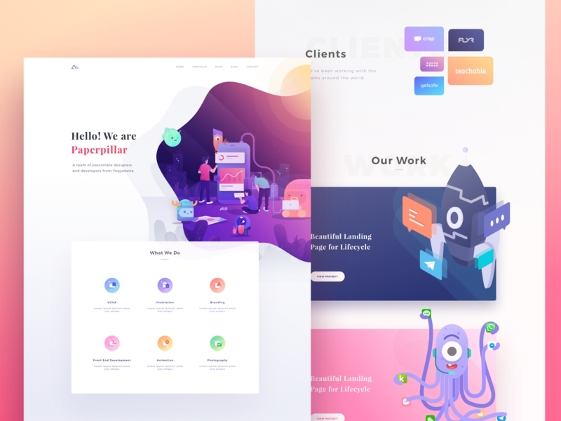 Paperpillar Landing Page 2.0 character monster people rocket clients portfolio blog cards icons illustration desktop web