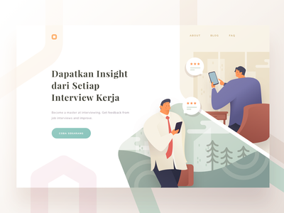 Interview Insight Landing Page typography phone rating feedback consultation consultant interview people pastel illustration