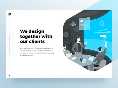 We Design Together with Our Clients presentation team work people hero hero images landing page dashboard desktop web illustration