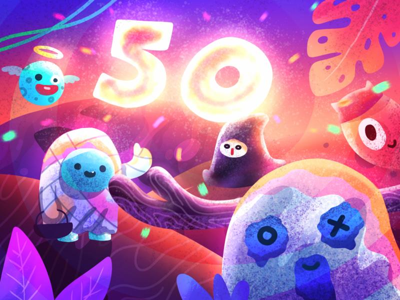 50k horror scary monster halloween character noise brush painting gradient illustration