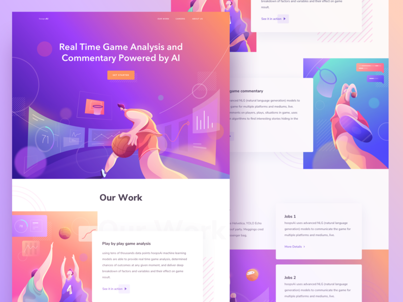 Landing Page for Real Time Game Analysis web desktop homepage analyze player people work comment chart stats monster graph design cards social gradient illustration